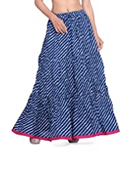Cotton Blue Panel Skirt With Lehariya Print And Pink Mangji