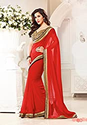 Cool chiffon material saree in real Red chilli color and Great heavy work in blouse so you look REALLY HOT LIKE A RED CHILLI with this saree - 198