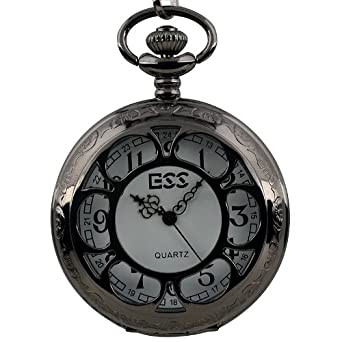 ESS Mens Black Stainless Steel Case White Dial Antique Pocket Watch with Chain WP055