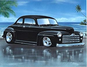 1947 48 Ford Coupe Streetrod Car Art Print Black 11x14