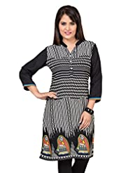 Black And White Printed Cotton 3/4 Sleeves Kurti