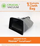 Washable & Reusable Hoover Cloth PortaPower Vacuum Bag, Part # 43662023, Fits Hoover S1029, S1015-033, S1015-032, S1015-031, S1015-030 & S1015, Designed & Engineered by Crucial Vacuum