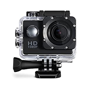 Cymas Full HD 1080P 2.0 Inch Sports Action Camera, 170º Wide-angle Fisheye Lens, Waterproof Housing and Accessories(16 Items)