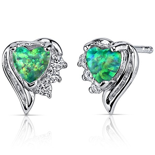 Created Green Opal Earrings Sterling Silver Heart Shape 1.00 Carats by Peora