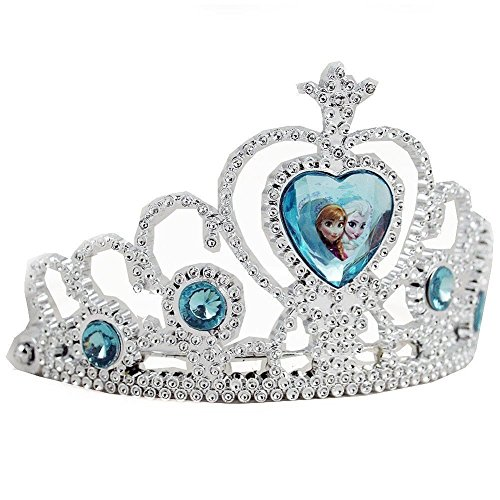 Disney Frozen Tiara Crown - Silver with Blue Elsa and Anna Heart Jewel