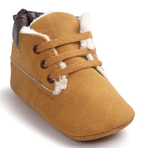 Kingko® Neonato maschio pattini di bambino molli suola in cuoio pattini infantili ragazzo invernali scarpe stivali da neve (0~6 mesi)