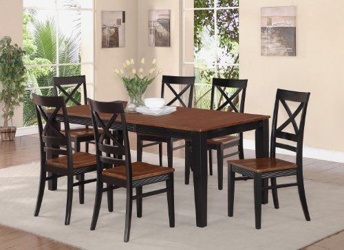 pc quincy rectangular dining table and 8 wood seat chairs black and