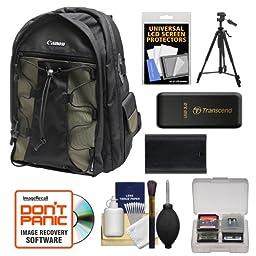 Canon 200EG Deluxe Digital SLR Camera Backpack Case + LP-E6 Battery + Tripod + Accessory Kit EOS 6D, 70D, 7D 5D Mark II III, 5DS R