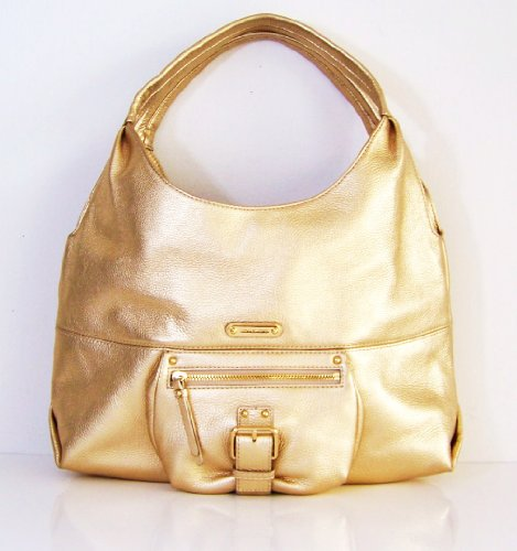 Michael Kors Mk Leather Austin Pale Gold Large Satchel Hobo Handbag Shoulder Tote Purse
