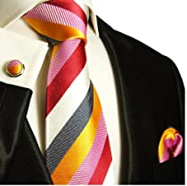 Paul Malone Necktie, Pocket Square and Cufflinks 100% Silk Red Pink Gold