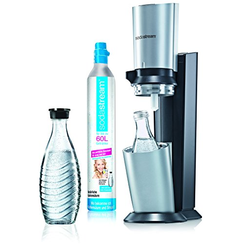SodaStream Soda Crystal (1 x CO2 cylinder 60L and 2 x 0.6L glass carafes) Titanium / Silver