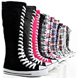 West Blvd Womens Tall Canvas Lace Up Knee High Sneakers Thumbnail Image