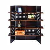 ORE International N1032-4-WALNUT 4-Panel Walnut Finish Room Divider with Book Shelves