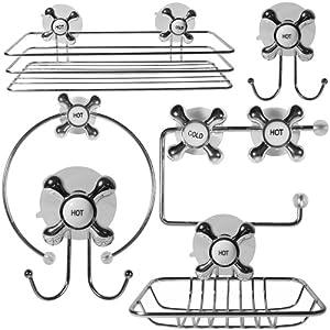 promobo set coffret 6 accessoires inox fixation ventouse salle de bain design robinet amazon. Black Bedroom Furniture Sets. Home Design Ideas