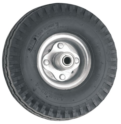 Waxman 4131055 10 Inch Pneumatic Wheel, Black Tire And Chrome Rim front-129805