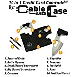 Credit Card Tool Survival Pocket Knife By Cable And Case [CCMT1] Credit Card Comrade Survival Card - The Best 10 in 1 Multitool Emergency Survival Companion