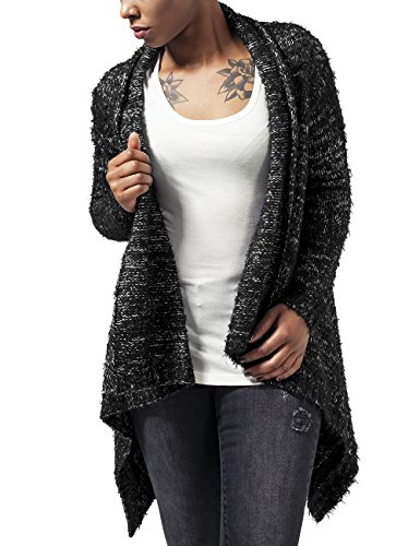Urban Classics Ladies Knit Feather Cardigan, Cappotto Donna, Mehrfarbig (Blk/Wht 50), X-Large