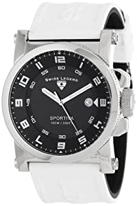 "Swiss Legend Men's 40030-01-WAS ""Sportiva"" Black Textured Dial and Reversible Black and White Silicone Strap Watch"