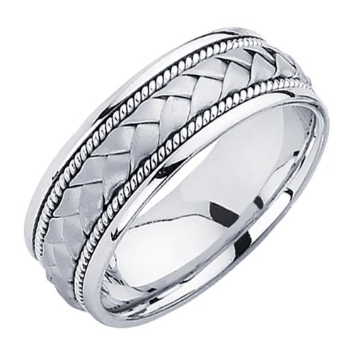 14K White Gold 8mm Braided Rope Comfort Fit Handbraided Designer Wedding Band Ring for Men & Women