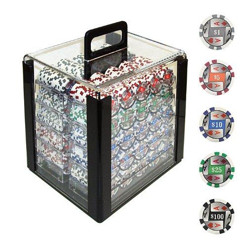 1000 4 Aces Poker Chips avec des d-nominations dans le support acrylique