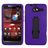 MYBAT AMOTXT907HPCSYMS008NP Symbiosis Dual Layer Protective Case with Kickstand for Motorola Droid Razr M XT907 - 1 Pack - Retail Packaging - Black/Purple