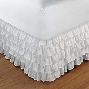 multi ruffle bedskirt size full color white ruffle bed skirt full. Black Bedroom Furniture Sets. Home Design Ideas