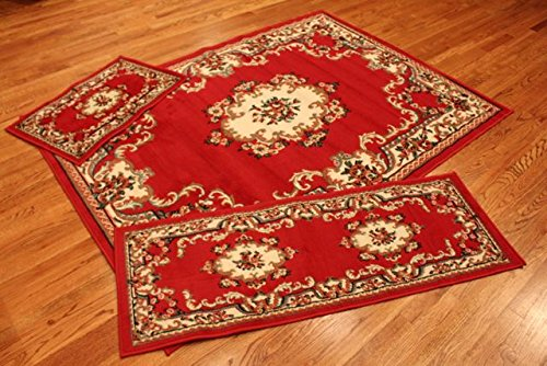 Abrahami Sultan 3-piece Area Rug Set Claret RED Abuson -Includes Area Rug -Runner - Scatter Rug 8223