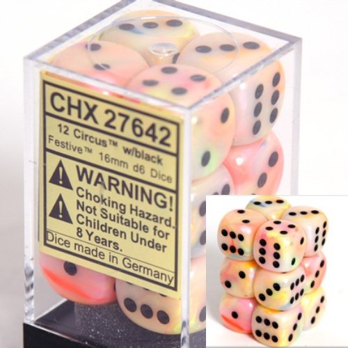 Chessex Dice d6 Sets: Festive Circus with Black - 16mm Six Sided Die (12) Block of Dice