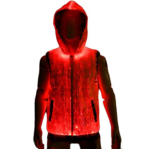 Fiber Optic Clothing Light Up Clothes Cool Hoodie for Men XL size Burning Man