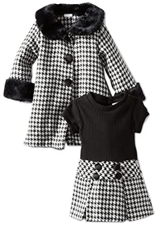Youngland Baby-Girls Infant Poly Plaid Dress And Coat Set, Black/White, 12 Months