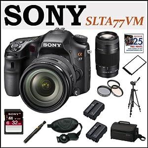 Sony Alpha SLT-A77VM 24.3 MP DSLR Camera + Sony DSLR 32GB SDHC Class 10 SD Memory Card + Accessory Kit