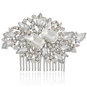 Silver-Tone Bridal Flower Art Deco Clear Austrian Crystals Hair Comb Clip A06718-2