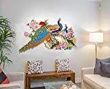 #10: Decal Design Wall Sticker for Living Room Peacock Birds Nature (PVC Vinyl, Multicolor)