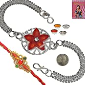 Indiangiftemporium Cute Red Color Floral Design Silver Rakhi Gift Rakhi Raksha Bandhan Gift Band Moli Bracelet...