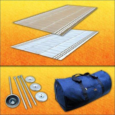 RV Patio Mat Awning Mat Outdoor Rug Trailer Mat Complete Kit 9x18 (Desert Sands Beige)