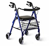 Medline Deluxe Folding Rollator Walker, Blue
