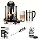 Nespresso VertuoLine Coffee and Espresso Maker with Aeroccino Plus Milk Frother (Black) plus Set of Six Espresso Cups and Saucers, Milk Frother, and Descaler