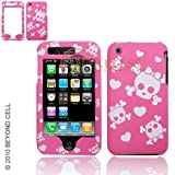 Premium - Apple iPhone 3G/3GS Protex White Cutie Skull/Pink Rubber DE Protective Case(Carrier:AT&T) - Faceplate - Case - Snap On - Perfect Fit Guaranteed