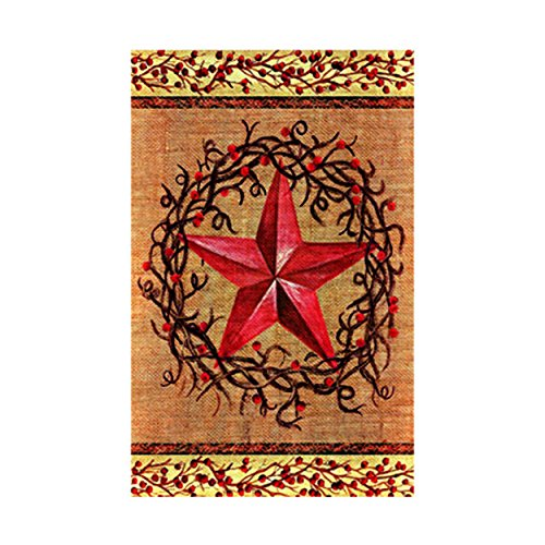 JS Barn Star Berry Wreath Country Primitive Garden FlagDecorative Garden Flags Banner Home Flags 100% Polyester And Waterproof Fade And Mildew Resistant Print Double Side Size 12.5 X 18 Inch (Moose Flag Bracket compare prices)