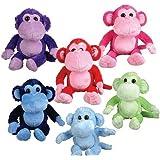 "16"" Colored Monkeys Plush, Case Of 24"