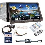 "Ouku GPS Navigator 7"" HD Double 2 Din Car Radio DVD Player 3D PIP Bluetooth TV+Camera"