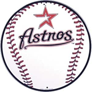 Houston Astros 12 inch Baseball Style Metal Circle Sign