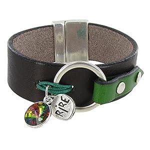 Bijoux Les Poulettes - Bracelet Cuir Marron Swarovski Vert et Médaille Rire