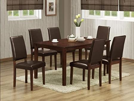 7PC Brown Finsihed Dining Table and Chairs Set