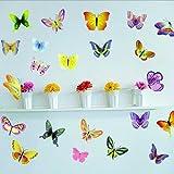 BestOfferBuy - Sticker Mural Illustré par des Papillons Colorés (Décalcomanie)