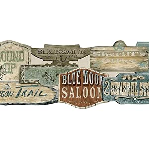 wallpaper border old wild west western store signs die cut