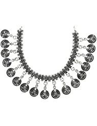 The Jewelbox Tribal Bohemian Oxidized German Antique Silver Plated Ginni Coin Choker Necklace For Women