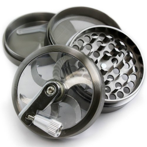 Chromium Crusher 2.5 Inch 4 Piece Tobacco Spice Herb Grinder – Pick Your Grinder (Gunmetal Zinc w/ Mill Handle)
