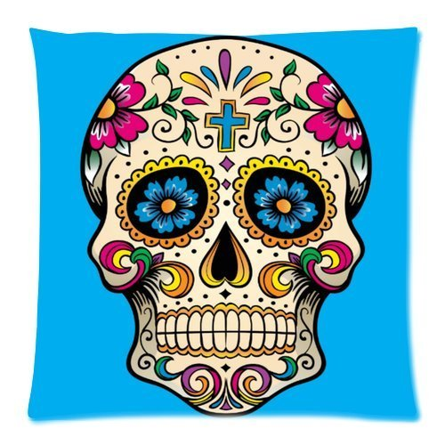 Beautfuldecor Home Decoration Flower Skull Pillowcase 20X30 Inch Standard Size Throw Cushion Cover
