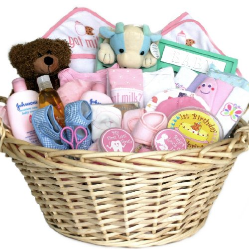 Baby Gift Ideas For Christmas : Baby gift basket deluxe pink for girls